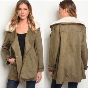 Olive Faux Suede Jacket